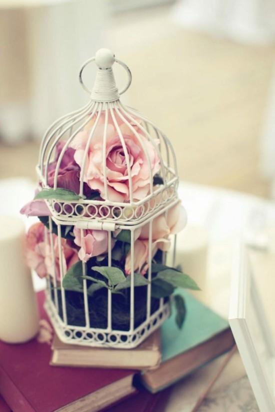 rosen tischdeko vogelkäfig deko