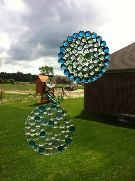runde fenster deko sonnenfänger basteln aus glasperlen