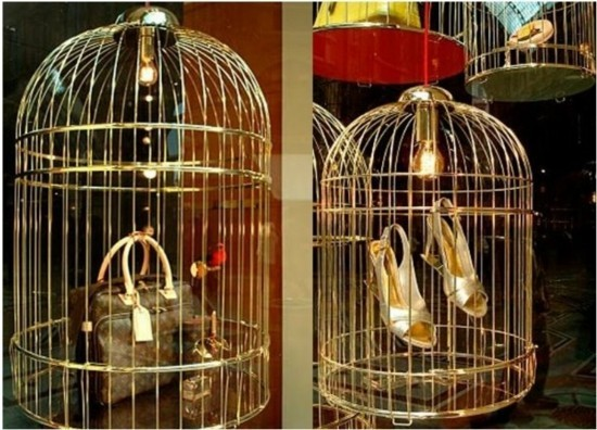 schaufenster vogelkäfig deko idee