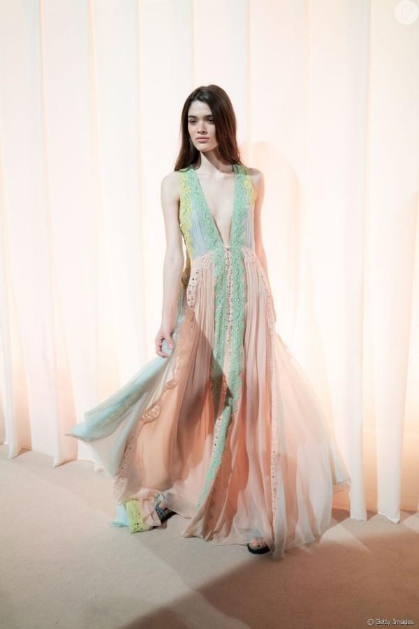schieres langes Kleid in mehreren Nuancen Damenkleider