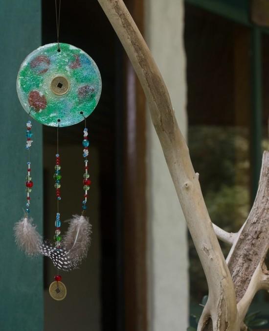 sonnenfänger basteln mit perlen und federn