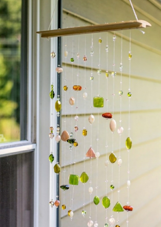sonnenfänger basteln mobile mit perlen und glas