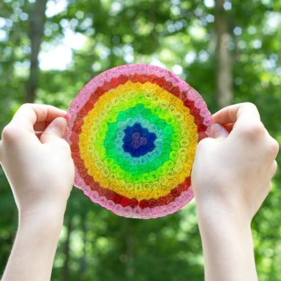 sonnenfänger basteln regenbogen rund