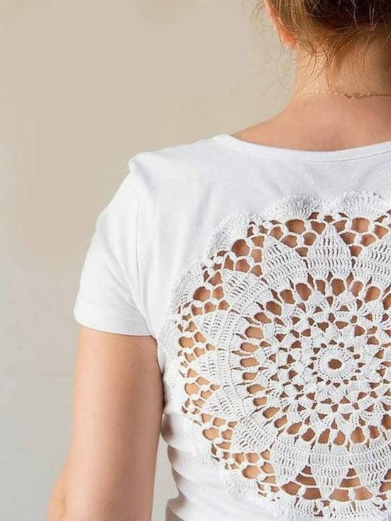 spitzendeckchen dekoration von t-shirts