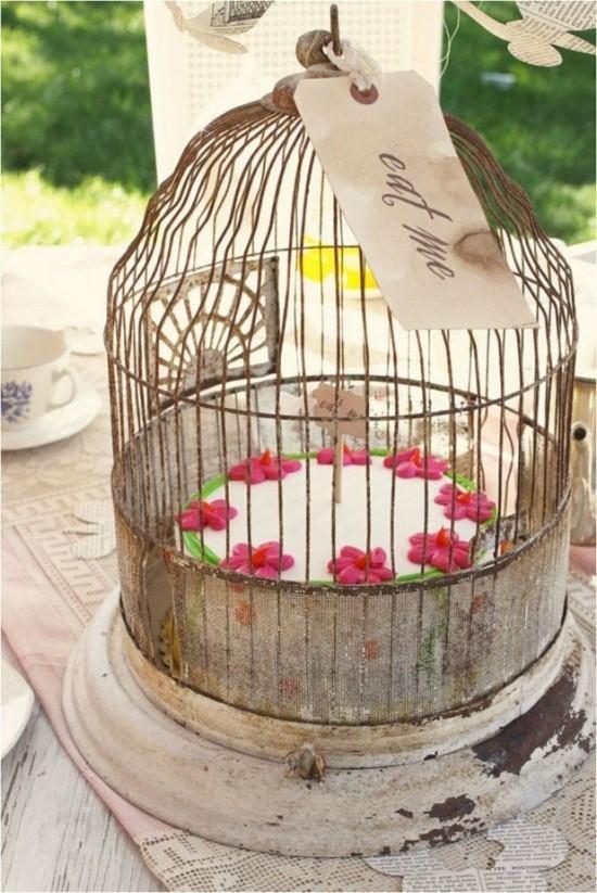 vintage geburtstagsparty vogelkäfig deko idee