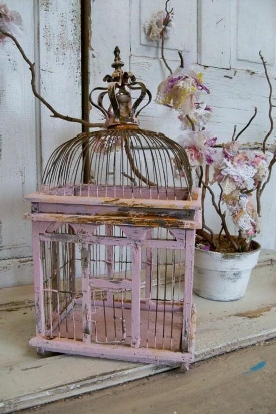vintage romantische vogelkäfig deko idee