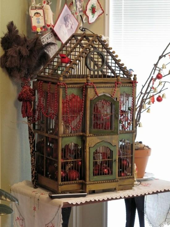 vintge weihnachtsdeko vogelkäfig deko