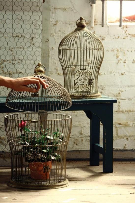 vogelkäfig deko blumenbehälter rosen
