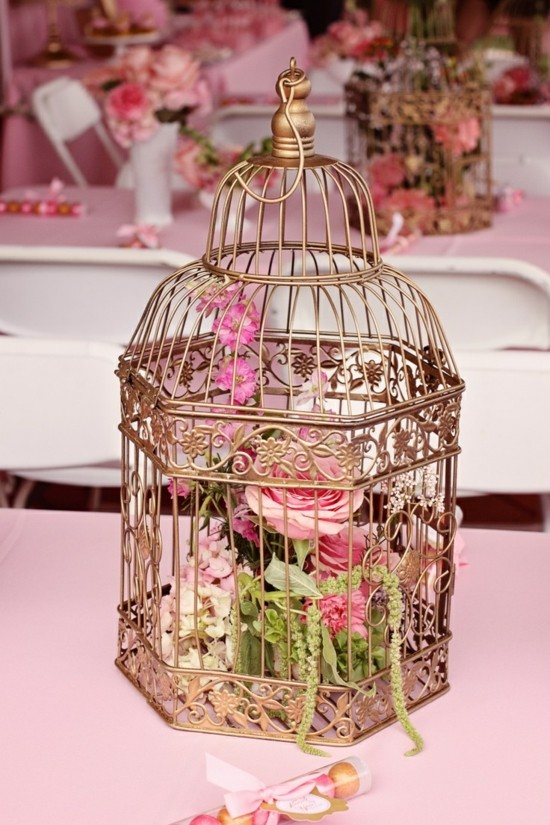 vogelkäfig deko hochzeitstischdeko mit rosen