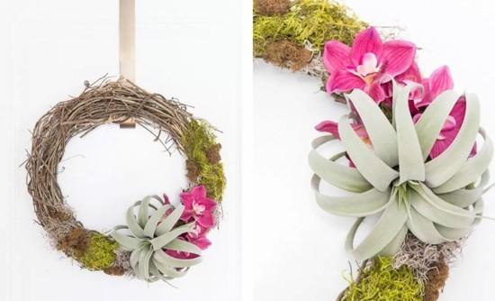 wandkranz deko mit tillandsien und orchideen