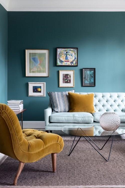 Asymmetrie im Interieur Wandbilder auf petrolblauem Hintergrund mehr Interesse erwecken