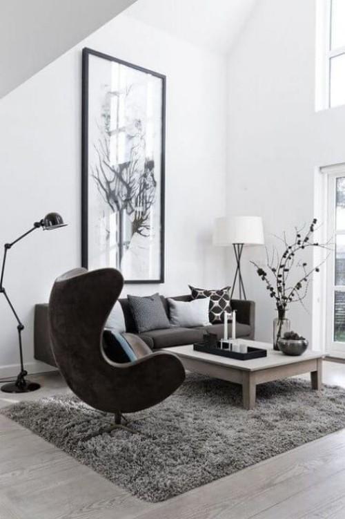 Asymmetrie im Interieur modernes Wohnzimmer einheitliche Farbpalette