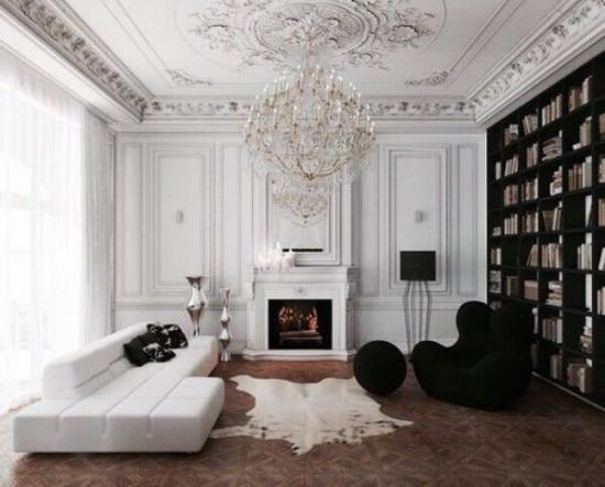 French Chic im Interieur Alt und Neu im unübertrefflichen Ganzen dunkle Bücherwand