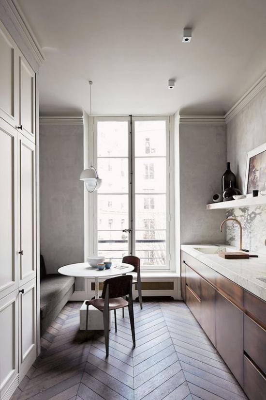 Γαλλικό κομψό στην τραπεζαρία εσωτερικού χώρου μινιμαλιστικό σχέδιο