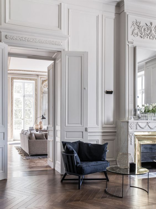 Γαλλικό chic στο εσωτερικό μοντέρνο σαλόνι