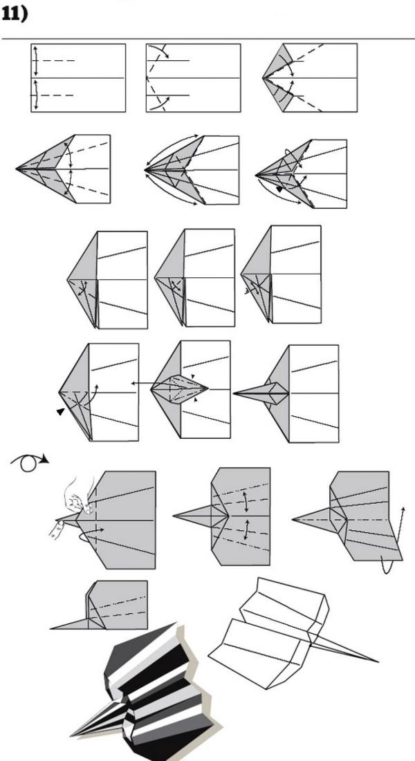 Grau und Weiß - Papierflugzeug basteln
