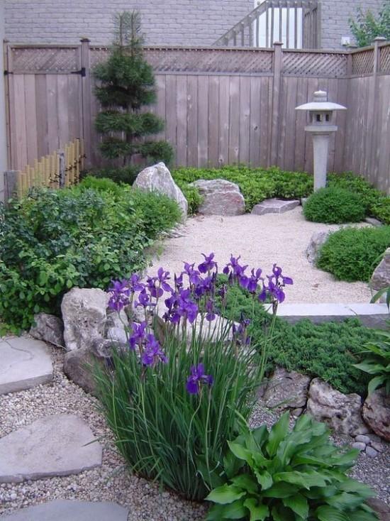 Japanischer Garten hohe Ästhetik Holzzaun Steine Kiesel Laterne aus Stein iris in Blau Blickfang