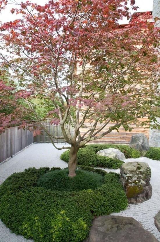 Japanischer Garten hohe Ästhetik visuelle Harmonie japanischer Ahorn grüne Sträucher sehr ansprechendes Bild