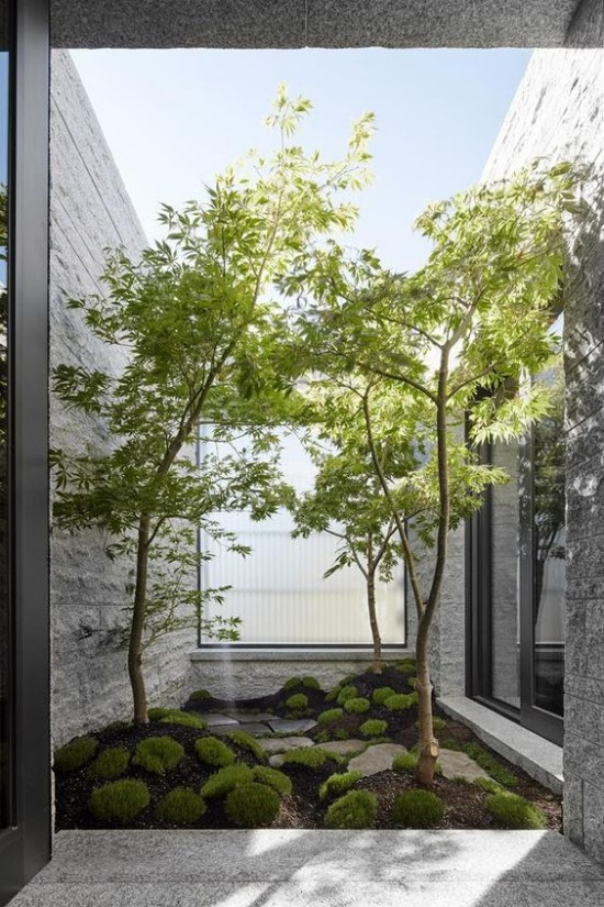 Japanischer Garten hohe Ästhetik visuelle Harmonie kleine Fläche Moos grüne Bäume