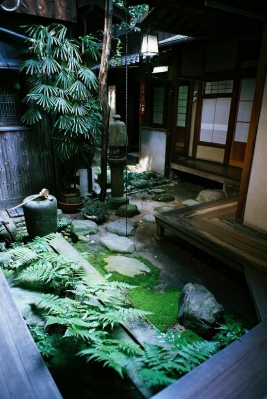 Japanischer Garten im Hinterhof Farbpalette grün Wasserbrunnen Moos Steine Farn