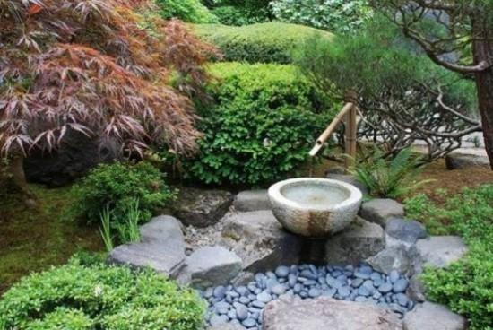 Japanischer Garten wasserschale große Steine Kiesel Baumbus grüne Pflanzen japanischer Ahorn