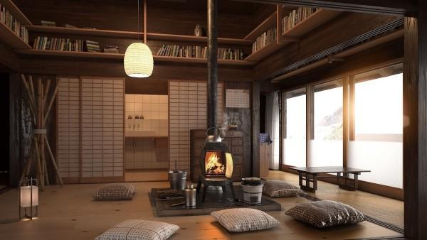 Japanisches Wohnzimmer Bambus Deko Schiebetüren Bodenkissen Ofen Bücherregale