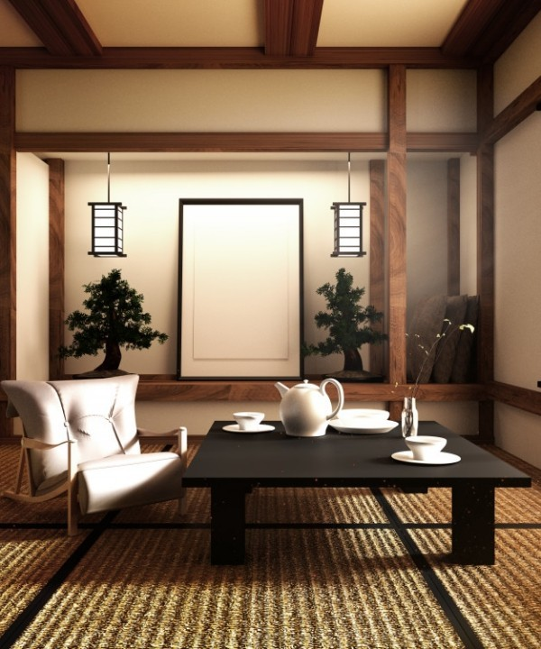 Japanisches Wohnzimmer Bonsai Bäume Laternen Matten aus Bambus oder Reisstroh