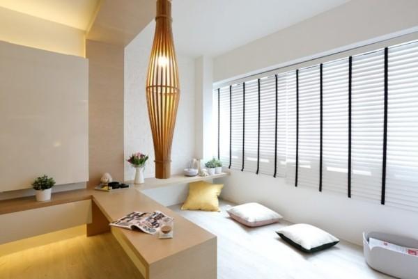 Japanisches Wohnzimmer elegante Raumgestaltung dezente Beleuchtung grau beige