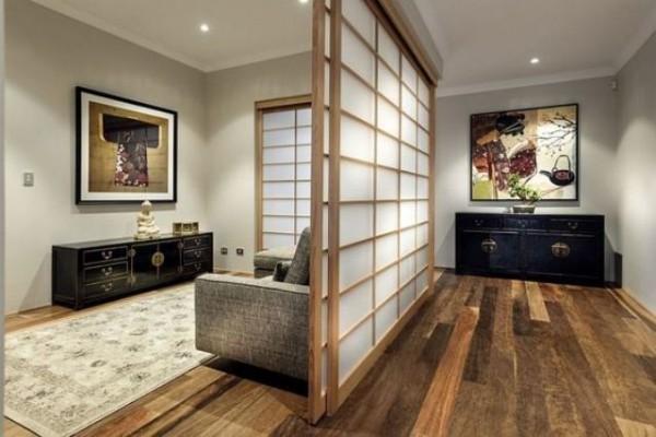 Japanisches Wohnzimmer elegante Schiebewände trennen
