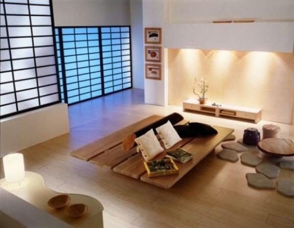 Japanisches Wohnzimmer elegante typisch japanische Schiebetüren trennen Räume ab dezente Beleuchtung Naturmaterialien