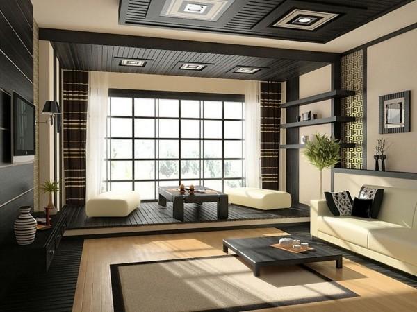 Japanisches Wohnzimmer helle Farben mit Schwarz kombiniert niedrige Tische Möbel sorgfältig gewählte Accessoires