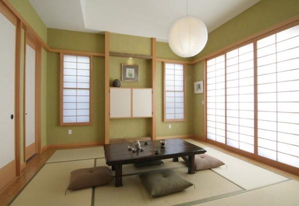 Japanisches Wohnzimmer typische Einrichtung Harmonie im Design Teezeremonie