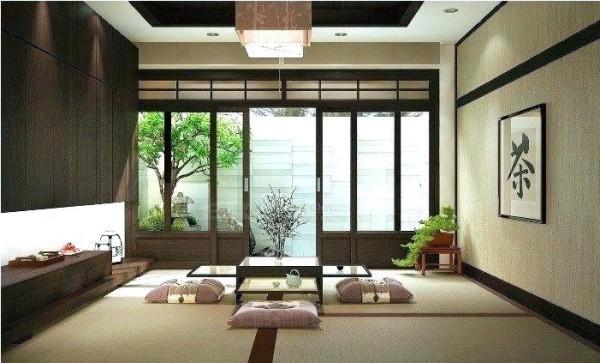 Japanisches Wohnzimmer typische Raumgestaltung Schiebetüren Natur kommt ins Zimmer
