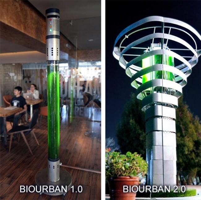 Künstlicher Baum BioUrban kann die Luft in Städten säubern erste und zweite version innen und außen