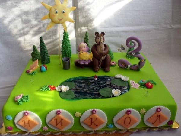 Mascha und der Bär Torte Kinderparty Masha i Medved Kindertorte quadratisch
