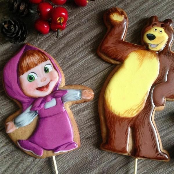Mascha und der Bär Torte Motive Keksen Kindertorte