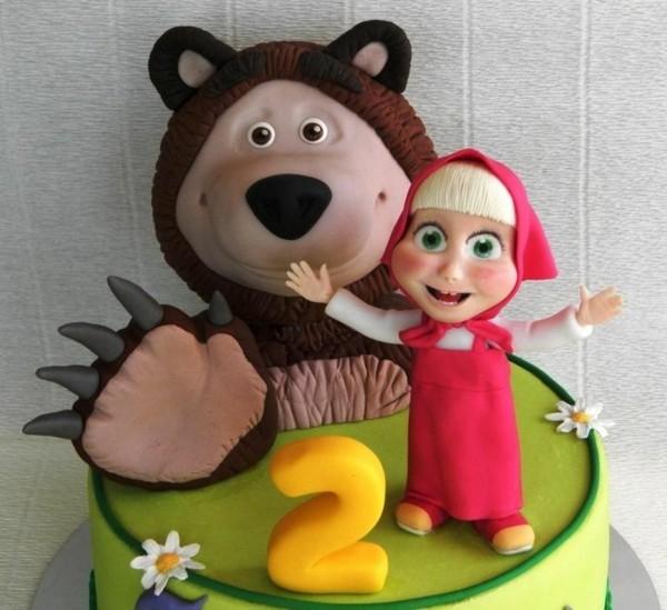 Mascha und der Bär Torte Motivtorte Kindergeburtstag Figuren