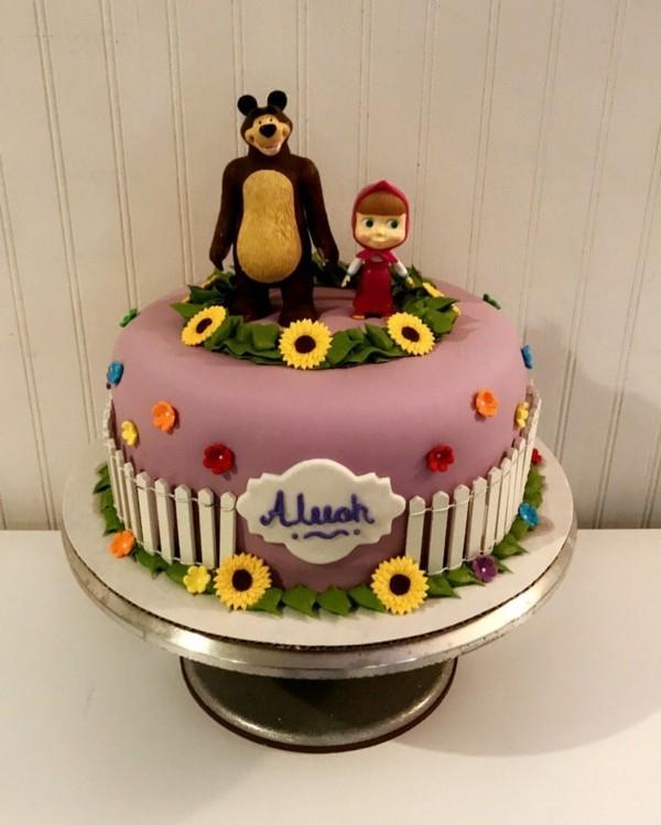 Mascha und der Bär Torte Motivtorte Kindergeburtstag Mascha Tortenmotive