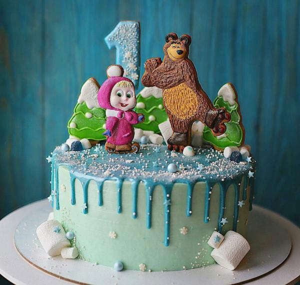 Mascha und der Bär Torte Motivtorte Kindergeburtstag Schnitten laufen