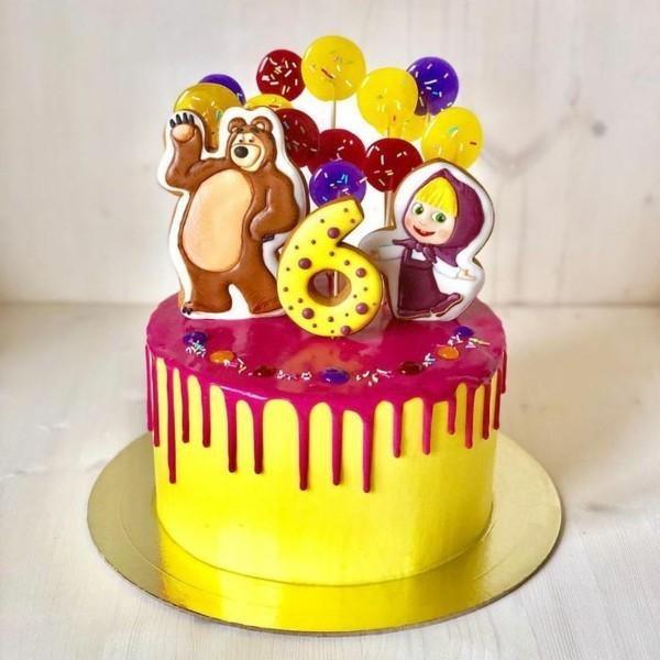 Mascha und der Bär Torte Motivtorte Kindergeburtstag gelb
