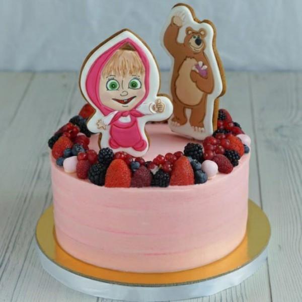 Mascha und der Bär Torte rosa Motivtorte Kindergeburtstag Mädchen