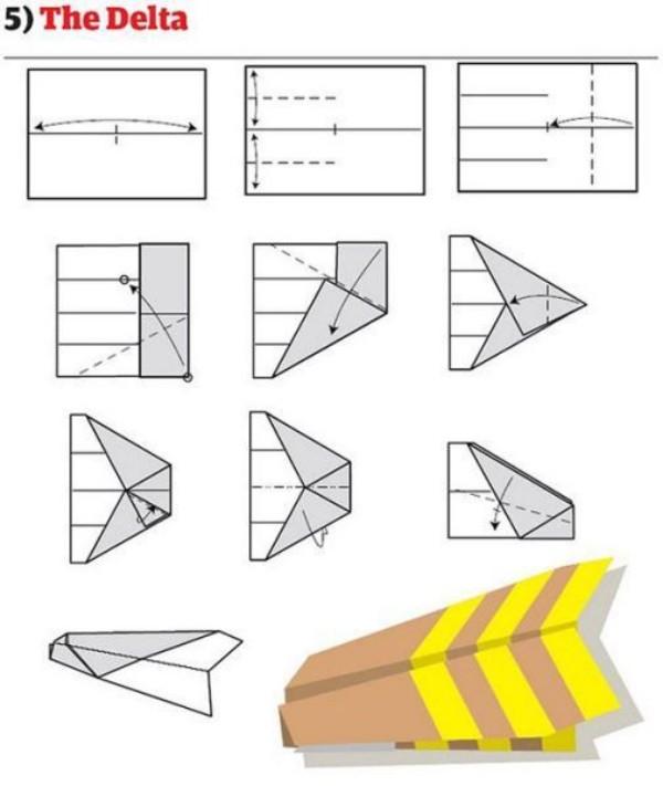 Papierflieger gelb und braun Papierflugzeug