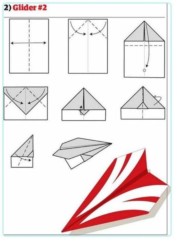 Papierflugzeug Papierflieger grün und rot