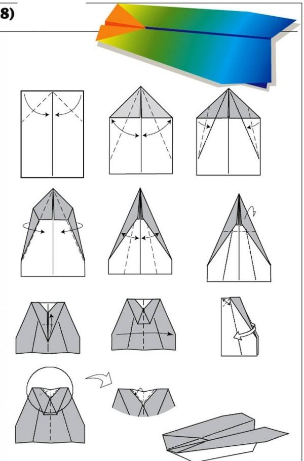 Papierflugzeug basteln in mehreren Farben