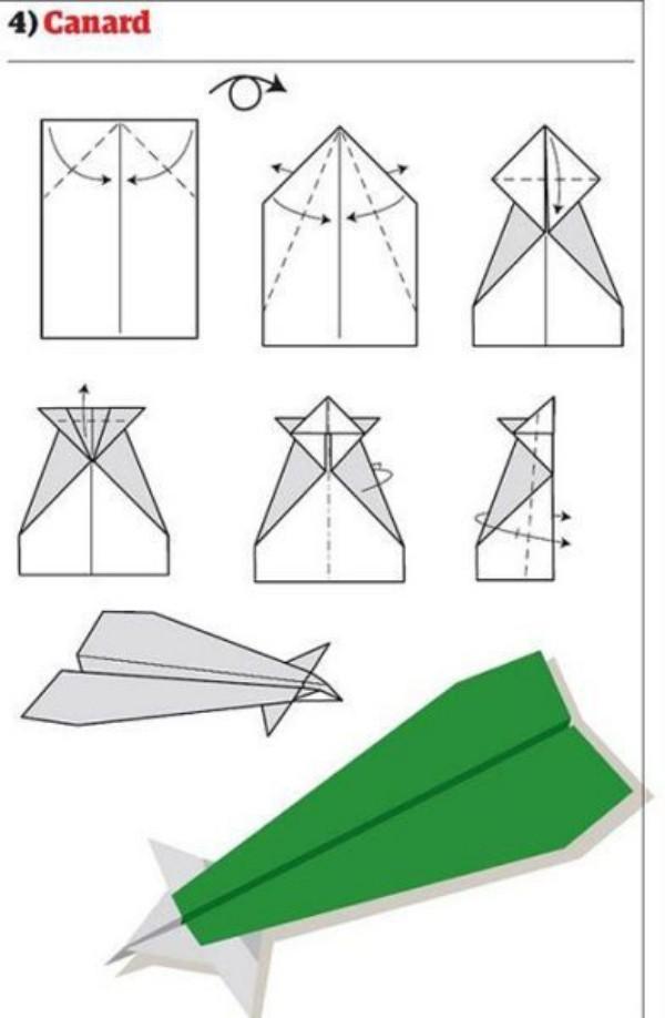 Papierflugzeug bauen in grün