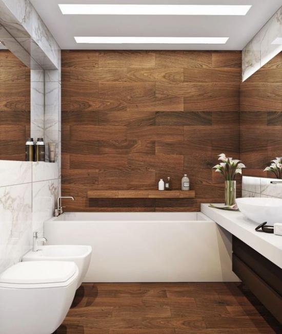 Passendes Licht im Bad schöner modern gestalteter Raum eingebaute Deckenbeleuchtung