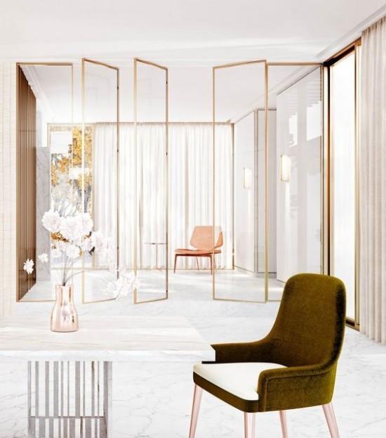 Raumteiler aus Glas und Metall elegantes Design Einsatz in Büroräumen