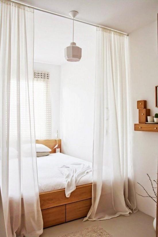 Raumteiler leichte transparente Gardinen in Weiß Schlafbereich gekonnt absondern