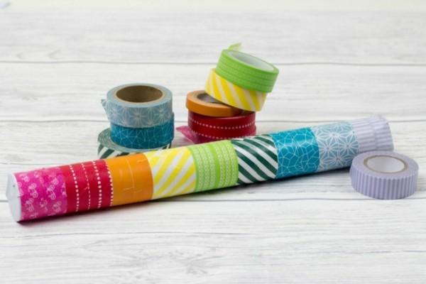 Regenmacher basteln Materialien Washi Tape Bastelideen Farbe Muster