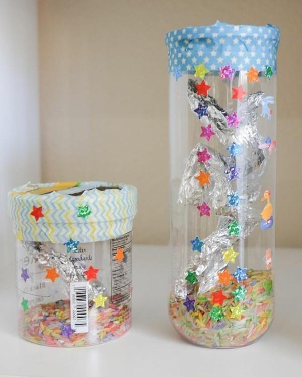 Regenmacher basteln PLastik Reis Sterne
